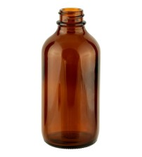 120 ML (22mm Neck Finish) Boston Round Amber Glass Bottle - 1 Unit @ $0.95 Per Bottle