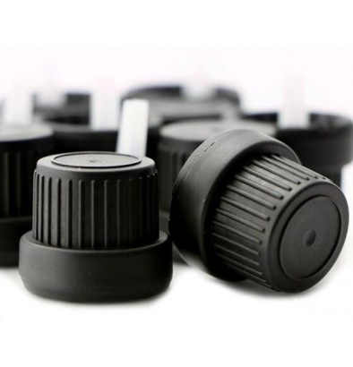 Black 18 mm Tamper Evident Euro Dropper Cap With Inner Inverted Dropper. 25000 units @ $0.12 per unit