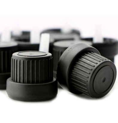 Black 18 mm Tamper Evident Euro Dropper Cap With Inner Inverted Dropper. 5000 units @ $0.13 per unit