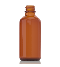 60 ML AMBER Boston Round Glass Bottle - 1 Unit @ $0.35 Per Bottle